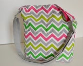Notting Hill Tote - Colorful Chevron Stripes in Pink, Green and Grey