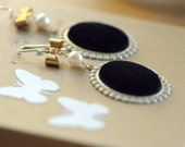black velvet- sterling silver vintage cabochon earrings