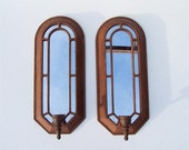 Beautiful Vintage Mirrored Metal Wall Hanging Candle Sconce Pair