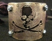 ay matey, pirate, skull and crossbones, etched metal, cuff,  bracelet ,womens jewelry, bracelet
