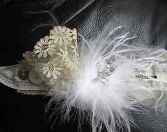 SALE    vintage lace cuff bracelet wedding feather rhinestone handmade womens jewelry free shipping