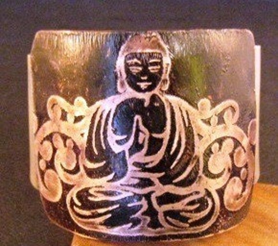 Buddha cuff etched metal copper womens jewelry free shipping