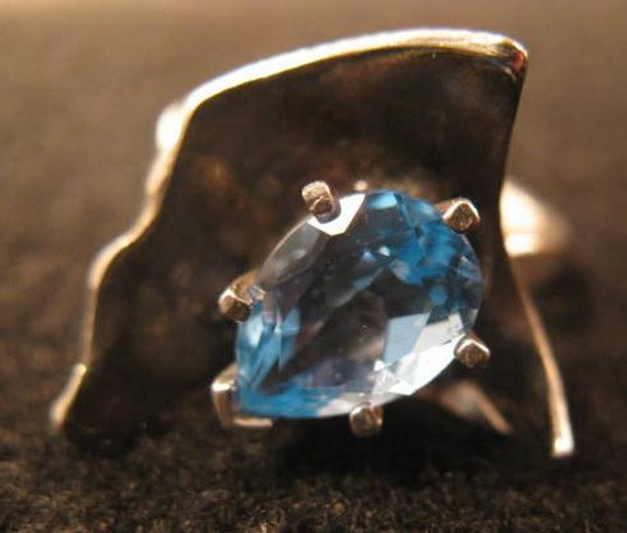 sterling silver hand formed blue topaz pear adjustable ring womens jewelry ready to ship