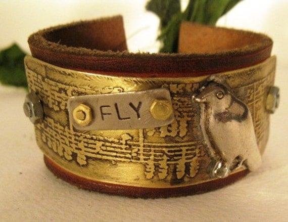 etched metal music bird cuff womans bracelet
