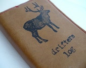 small leather sketchbook journal handprinted custom for you drifters log