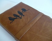 leather journal sketchbook handprinted for you custom birds on a branch