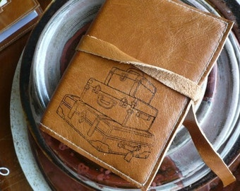 Small Leather Journal - Small Leather Sketchbook - refillable - monogram - customize - personalize