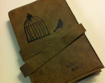 leather handprinted journal sketchbook customized for you sing song