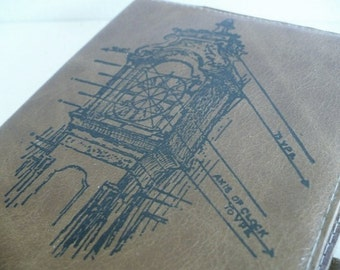 leather journal sketchbook handprinted for you custom clock tower