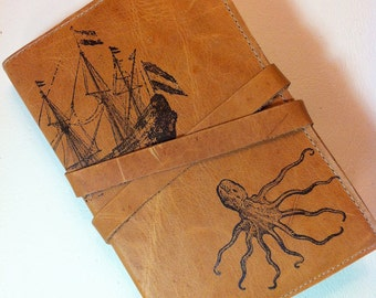 leather journal sketchbook hand-printed for you custom schooner octopus
