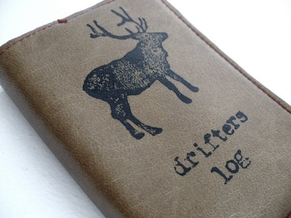 small leather sketchbook journal hand-printed custom for you drifters log