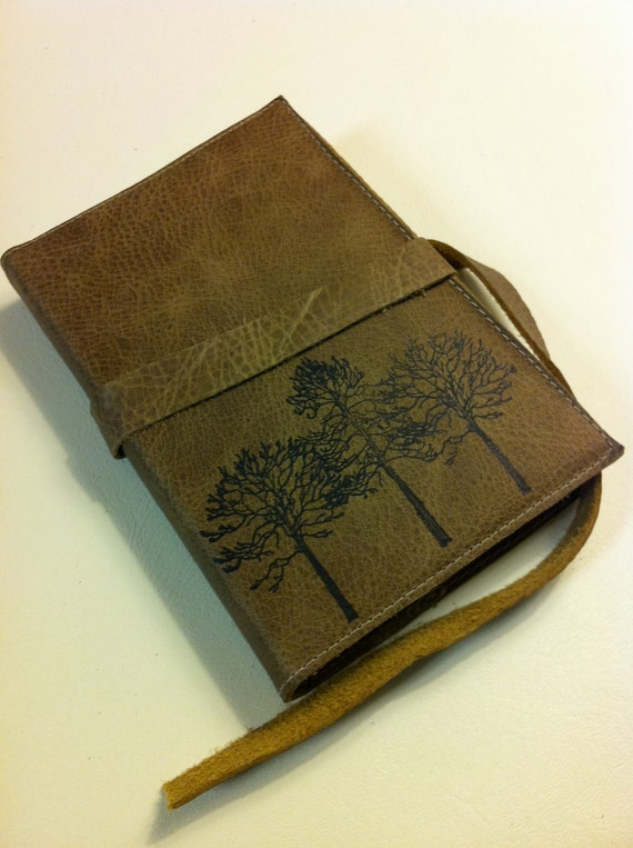 Leather Journal - Leather Sketchbook Case - Leather Tree Journal - Monogram - Personalize