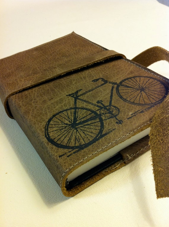 Leather Journal - Leather Sketchbook Cover -  Leather Bike Journal - Monogram - Personalize