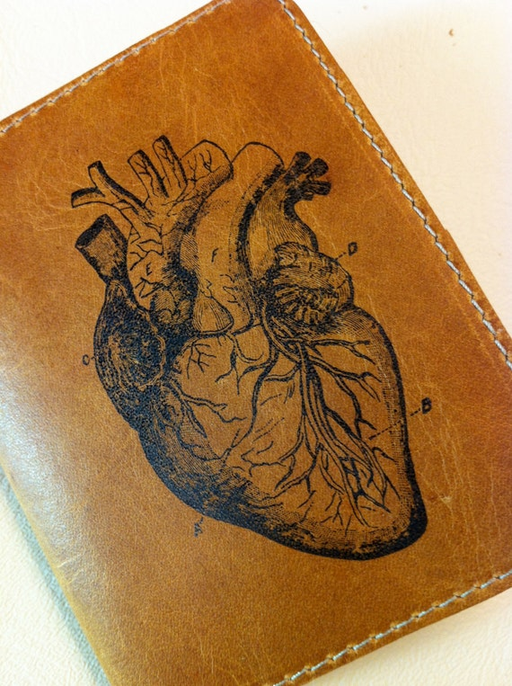 billfold wallet with card slots leather custom for you anatomical heart