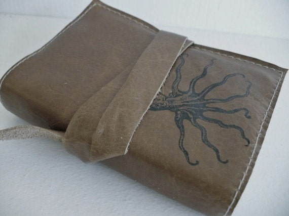Small Leather Journal Refillable - octopus Journal - Leather sketchbook cover - monogram personalized