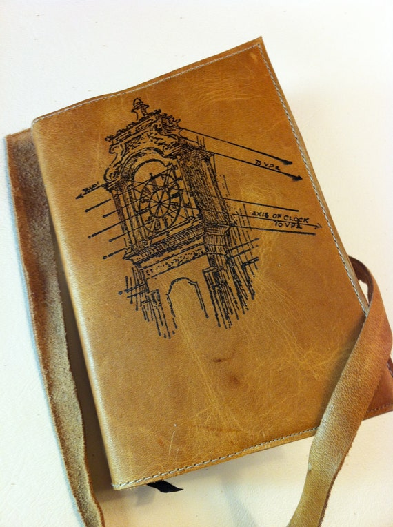 leather journal sketchbook hand-printed for you custom clock tower
