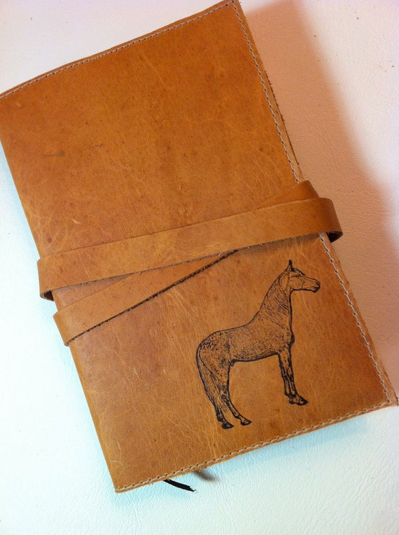 leather sketchbook journal hand-printed custom for you standing horse
