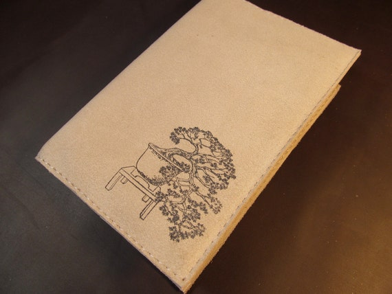 LIMITED EDITION leather journal sketchbook handprinted for you custom bonsai