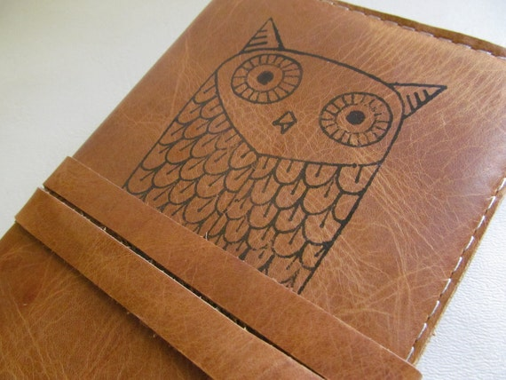 Leather journal or sketchbook featuring owl with free personalization