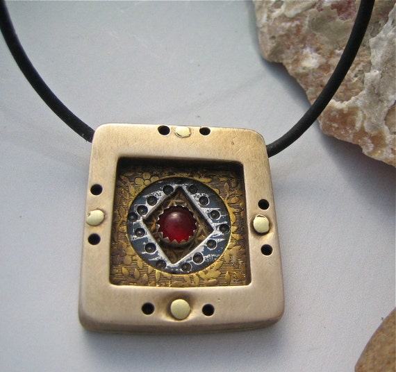 Chunky unique Square pendant with mixed metals and Carnelian