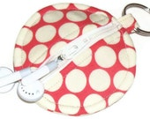 Earbud Keeper / Coin Purse Keychain - Circle or Heart Shaped - Amy Butler - cherry full moon dot - split ring
