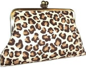 Leopard Print Clutch with hot pink silk linging - XL - antique brass metal frame