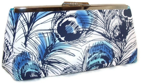 Peacock Feathers in Blue clutch - white with blue and turquoise peacock feathers - Bridal - silver metal frame clutch