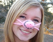 Pink Poodle Nose Warmer,  Rock On,  Rock N' Roll, Crocheted, Tween, Teen, Adult, Nose Cozy