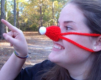 Santa Hat Nose Warmer, Christmas, Holiday, Crocheted, Tween, Teen, Adult, Nose Cozy, Silly Gift, Outdoor Sports, Games, Work