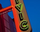 Civic Theatre canvas wrap - Vintage neon marqee, retro Farmington, Michigan home, office den, rec room wall decor
