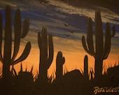 ACEO..... Original.....Stately Saguaros