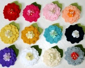 sweet petite felt flower clip set with forget me not centers, choose any TWO
