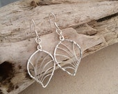 Sterling Silver Hammered Leaf Earrings. Simple. Wire Wrapped. Textured. Medium (E077SS-M) wire jewelry by cristysjewelry on etsy