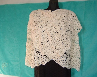 Elegant, White, Wraparound Crocheted Shawl, Woman Accessories, Wool