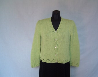 Green cardigan, knitted by hands, green color, 100% cotton, woman