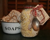 Homemade Laundry Soap Ball Mason Jar With Vintage Measuring Spoon