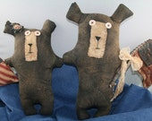Americana Primitive Bears With Flags Shelf Sitters