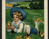 Vintage Easter Postcard - Sweet Boy with Chicks