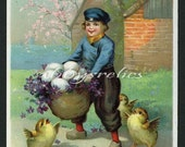 Vintage Easter Postcard - Boy with Basket of Eggs