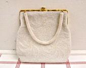 Swirl Beaded Evening Bag ...vintage white purse
