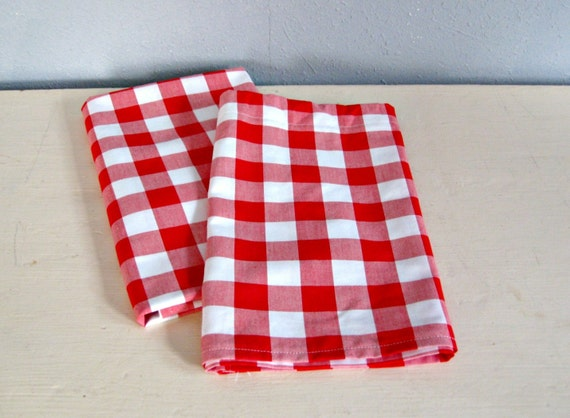 red gingham cafe curtain cotton valance by