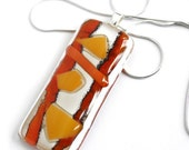 Glass pendant Necklace 'Funky Fusion' - 16' sterling chain