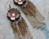 Tribal Chain Fringe Earrings - Enamel Flowers with Chain Tassels and Swarovski Crystals - Cherry Blossom Ombre