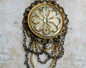 Steampunk Necklace - Lady Tick Tock - Vintage Pocket Watch Pendant with Gold Renaissance Flower and Antiqued Draped Chain
