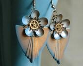 Steampunk Earrings - Steampunk Art Deco Flower Shields with Watch Gears in Light Blue and Brass