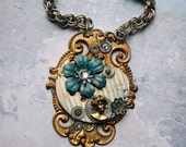 Steampunk Necklace - Neo Victorian Steampunk Cameo with Gears and Teal Flower - Steampunk Lady Tesla