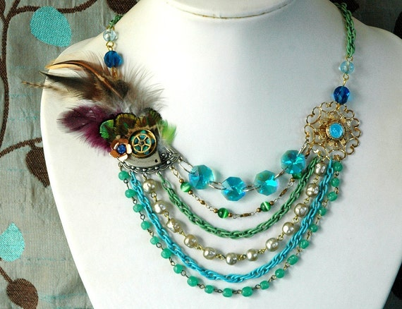 Peacock Equinox Steampunk Feather Necklace - Multi Chain Statement Bohemian Couture Vintage Flower Watch Gear Dreampunk