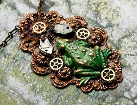 Witch's Familiar Steampunk Necklace - Vintage Frog Enamel Flower Watch Gears Neo Victorian Dreampunk