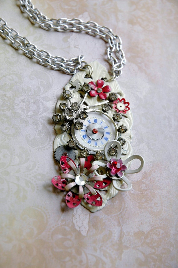 Steampunk Flower Necklace - Cosmos White and Pink Enamel Flowers with Silver Watch Gears - Romantic Steampunk
