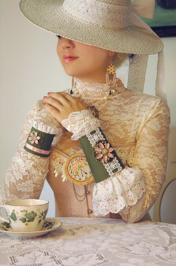 Steampunk Cuffs - Steampunk Victorian Tea Party Cuffs with Shabby Chic Eyelet Lace and Steampunk Clock